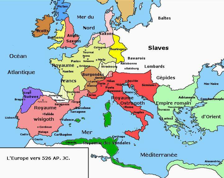 19  Carte Europe Ve siecle Royaumes