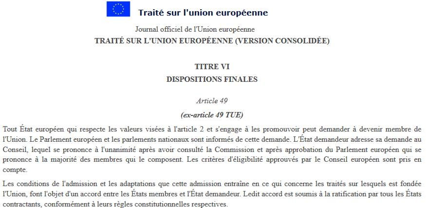 18 UE Traite article 49